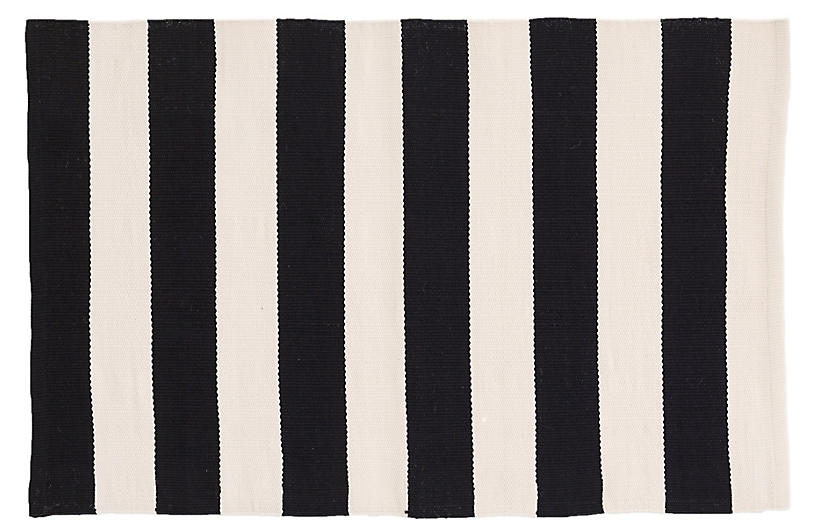 Catamaran Indoor/Outdoor Rug, Black/Ivory