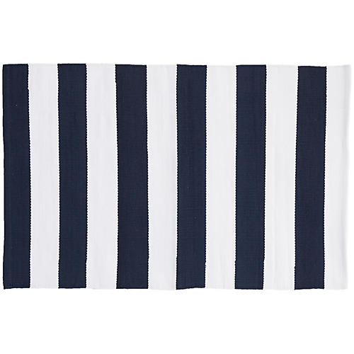 Catamaran Indoor/Outdoor Rug, Navy/White