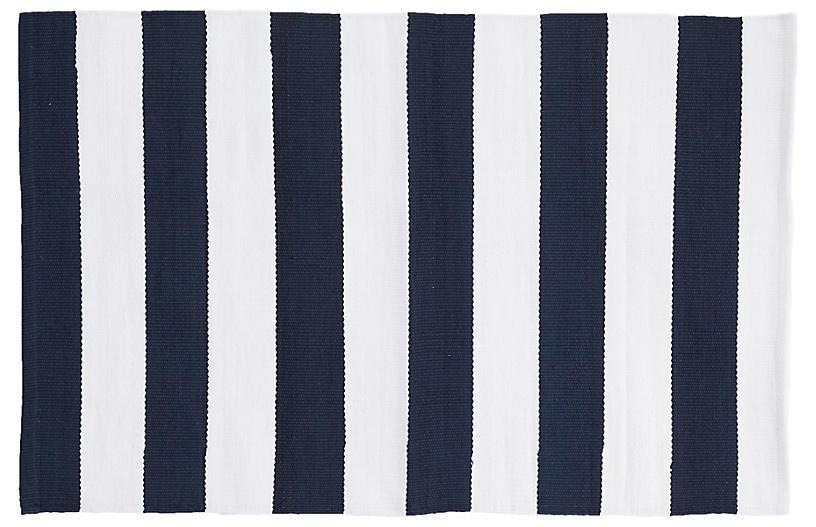 Catamaran Indoor/Outdoor Rug, Navy/White