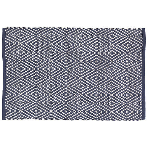 Diamond Indoor/Outdoor Rug, Navy/Ivory