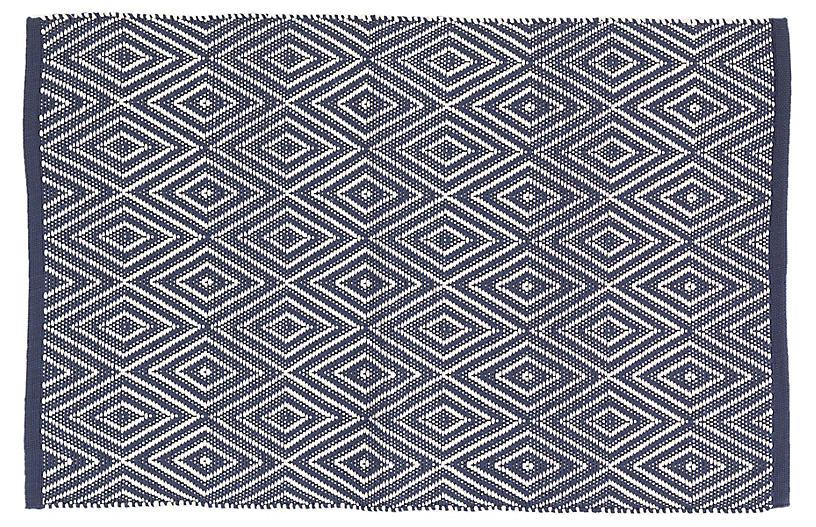 Diamond Indoor/Outdoor Rug, Navy/Ivory