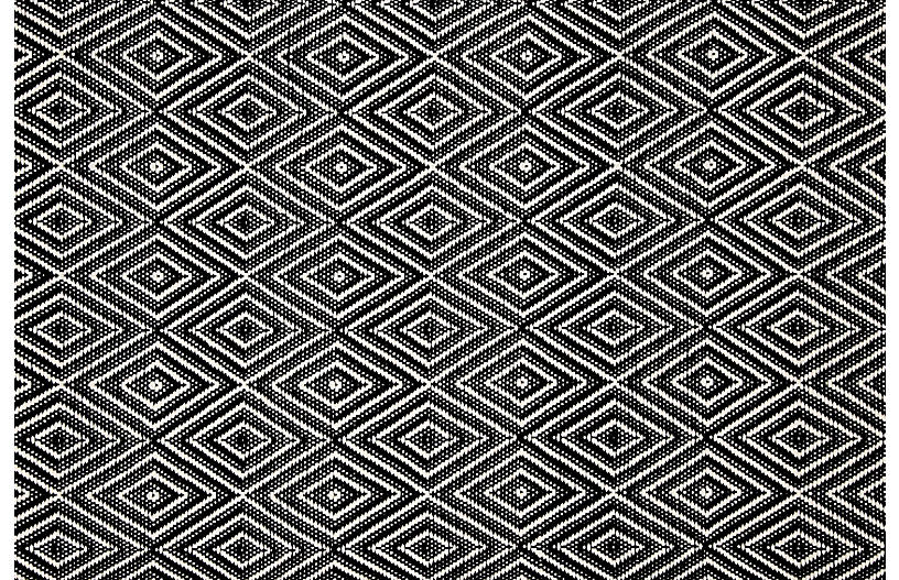 Diamond Indoor/Outdoor Rug, Black/Ivory