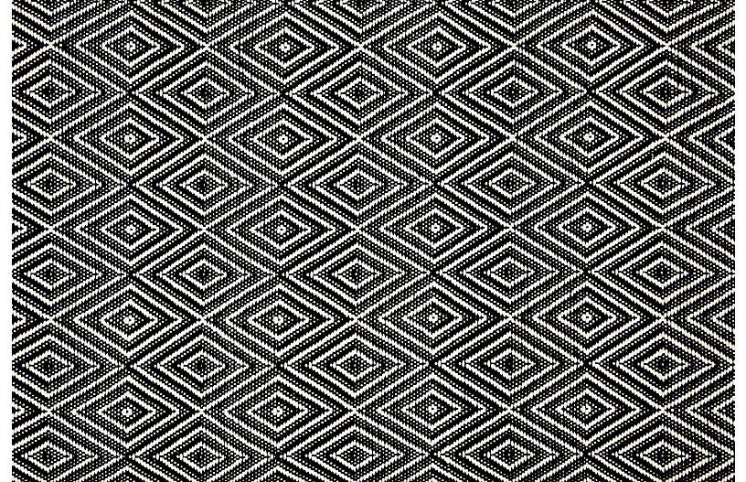 Diamond Indoor/Outdoor Rug, Black/Ivory