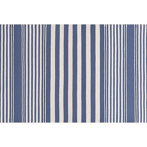 Rugby Stripe Indoor/Outdoor Rug, Denim