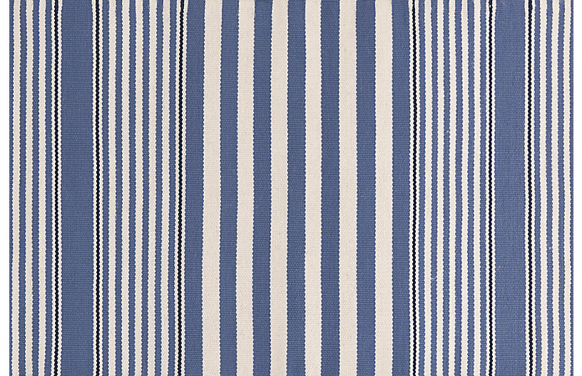 Rugby Stripe Indoor/Outdoor Rug, Denim