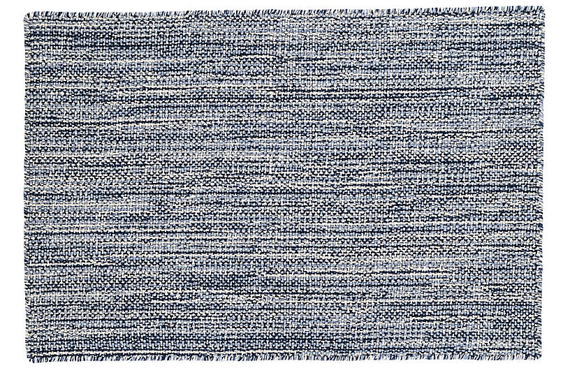 Bella Handwoven Rug, Navy