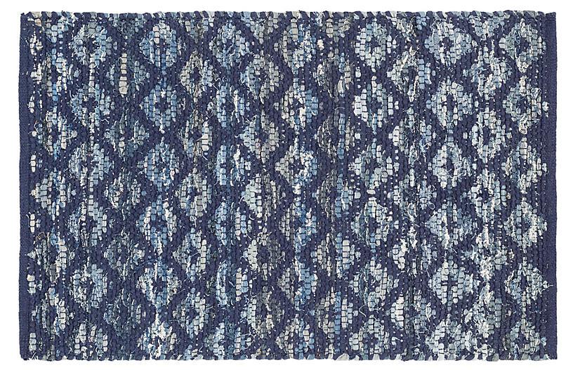Rag Diamond Woven Indigo Rug