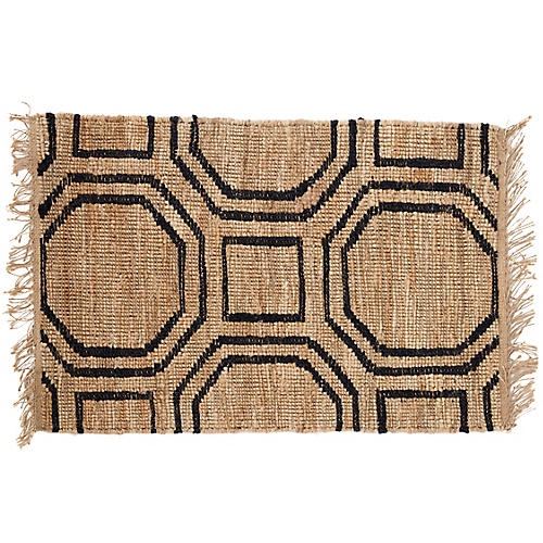 Hexile Jute Rug, Natural/Black