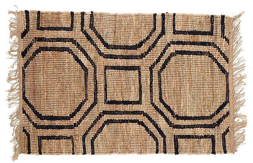 Hexile Jute Rug, Natural/Black
