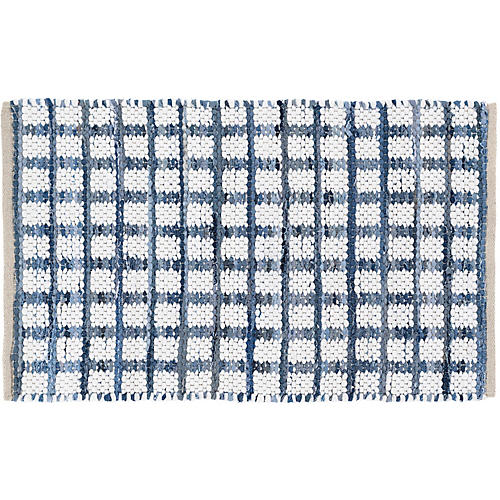 Denim Rag Squares Handwoven Rug, Blue