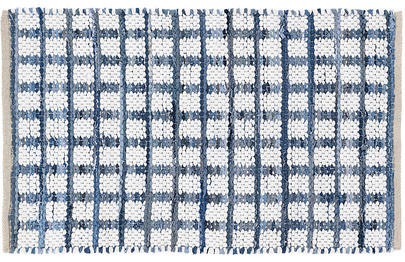 Denim Rag Squares Handwoven Rug, Blue