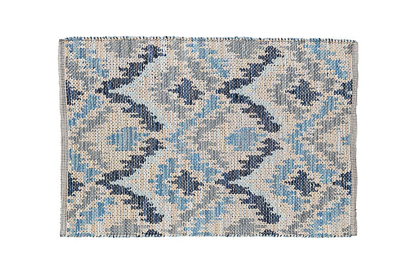 Medina Jacquard Woven Wool Rug, Blue