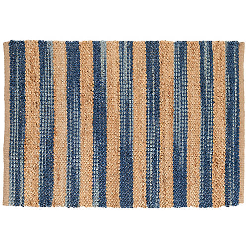 Corfu Jute Rug, Blue/Natural