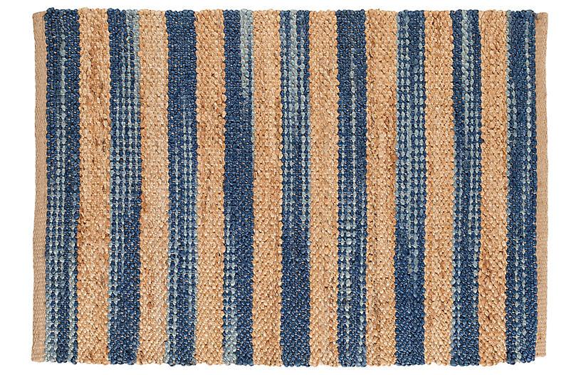 Corfu Jute Rug, Blue/Natural