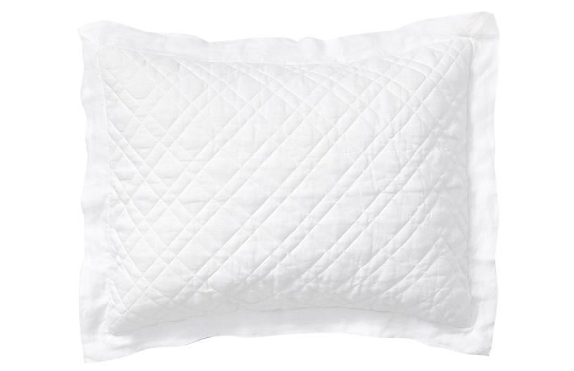 Washed Linen Quilted Sham, White