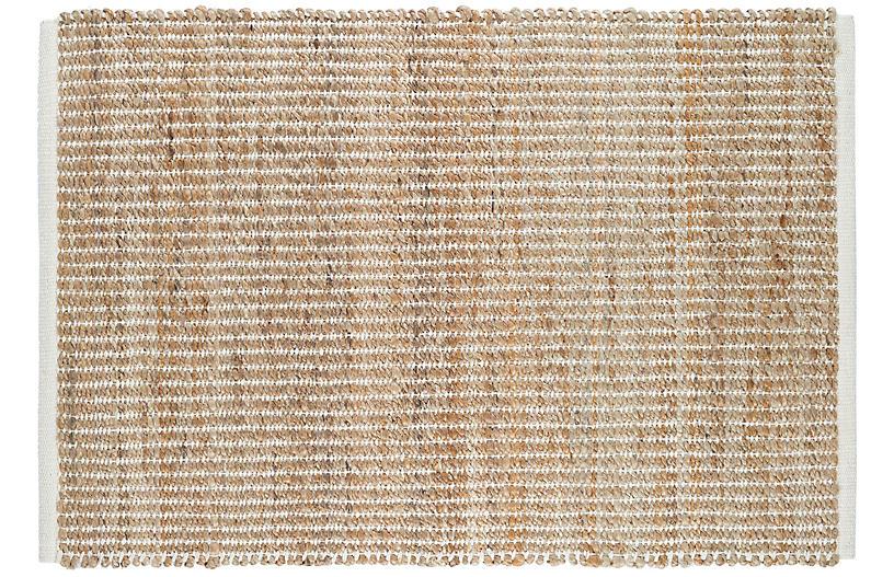 Gridwork Reversible Jute Rug, Ivory
