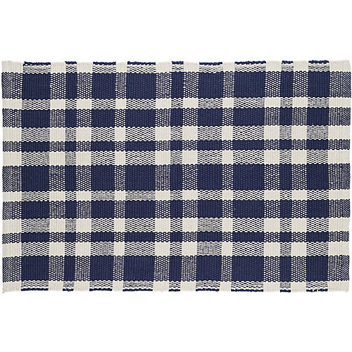 Tattersall Flat-Weave Rug, Indigo
