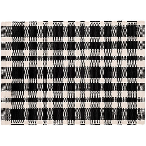 Tattersall Indoor/Outdoor Rug, Black/White
