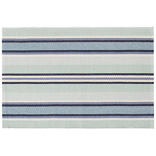Barbados Stripe Flat-Weave Rug, Aquatic Blue