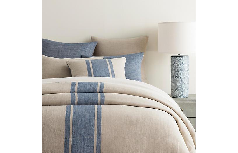 Maxwell Linen Duvet Cover, Blue