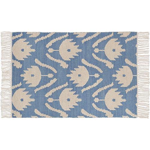 Ikat Floral Flat-Weave Rug, Blue/White