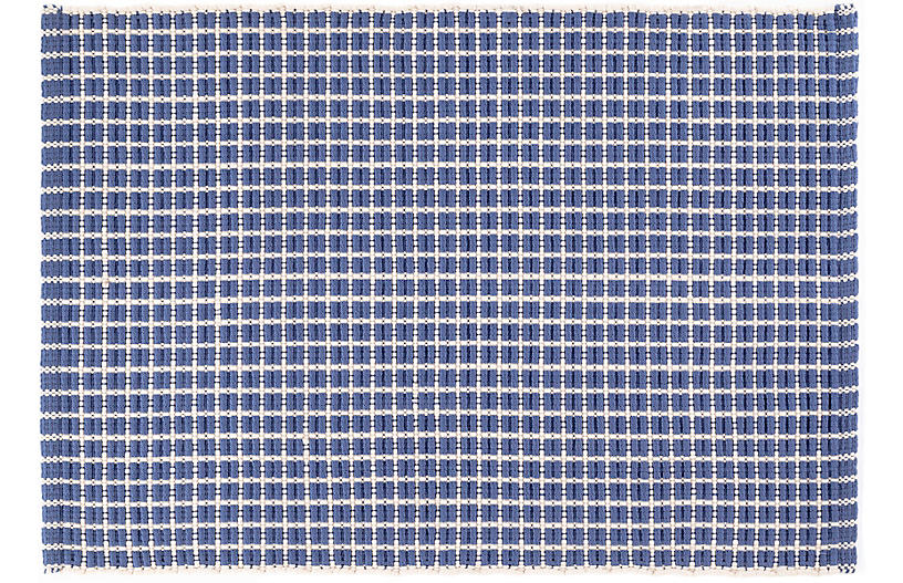 Gridiron Indoor/Outdoor Rug, Denim