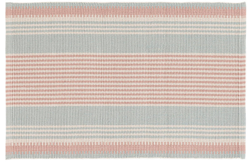 Island Stripe Flat-Weave Rug, Coral/Sky