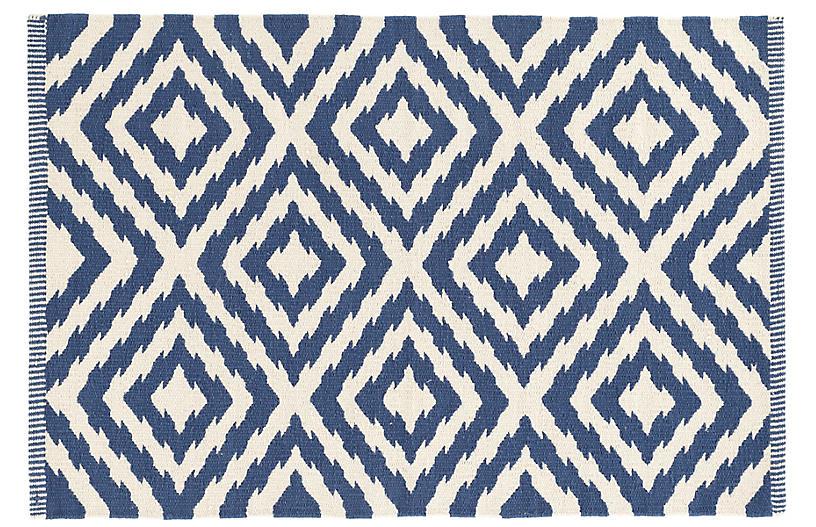 Clover Handwoven Rug, Blue
