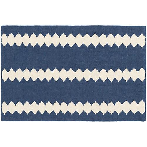 Senna Handwoven Rug, Blue/Ivory