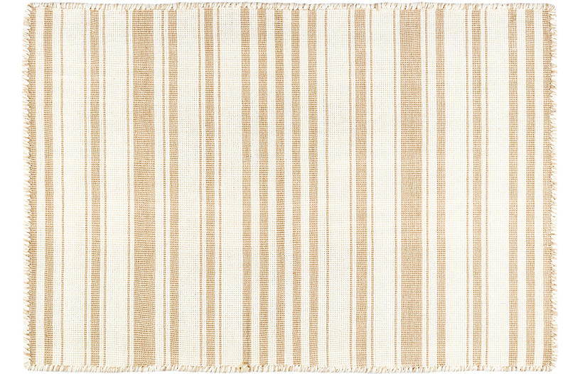 Hampshire Stripe Handwoven Rug, Wheat