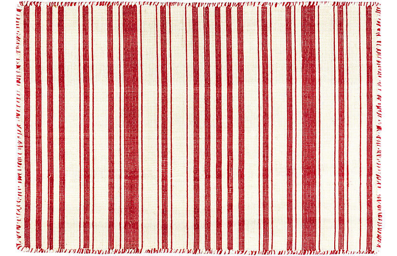 Hampshire Stripe Handwoven Rug, Red