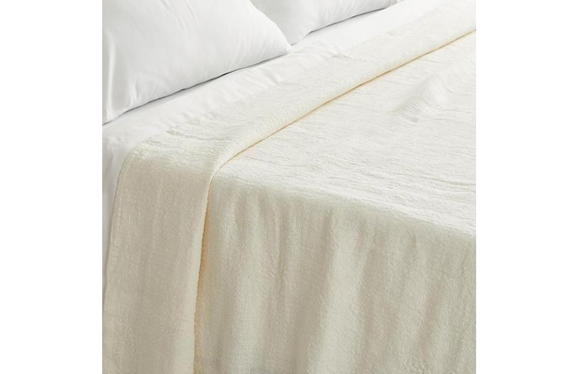 Amadora Linen Coverlet, Ivory