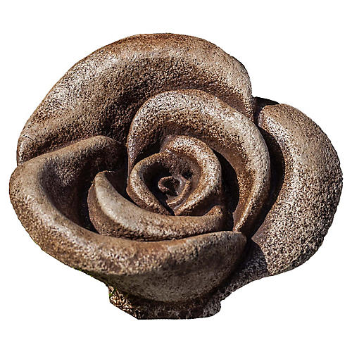 "6"" Hershey Rustic Rose Outdoor Statue, Brownstone"