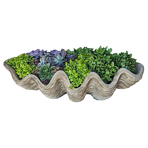 "32"" South Seas Shell Outdoor Planter, Gray"