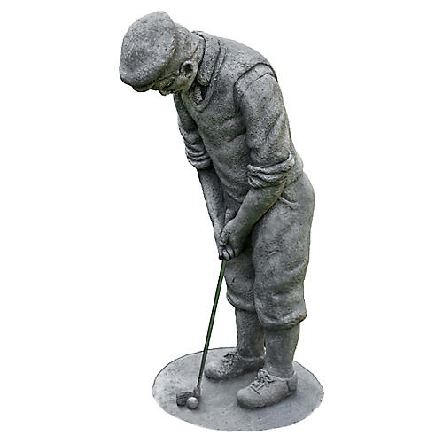 "23"" Classic Golfer Outdoor Statue, Graystone"