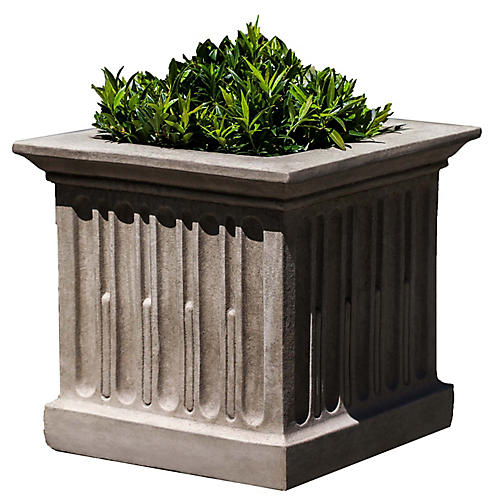 "16"" Morris Fluted Outdoor Planter, Gray"