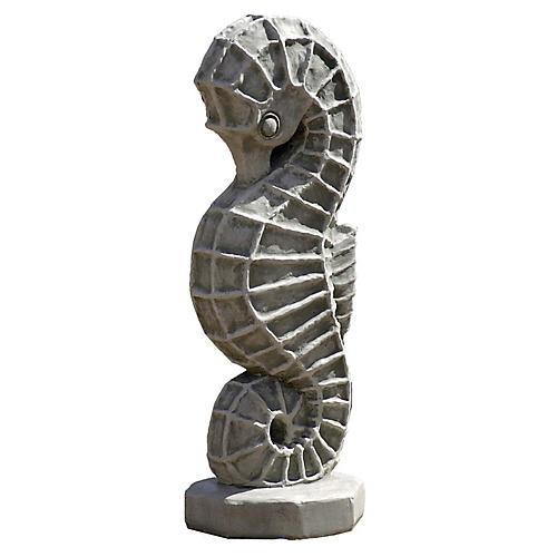 """27"""" Seahorse Outdoor Statue, Graystone"""