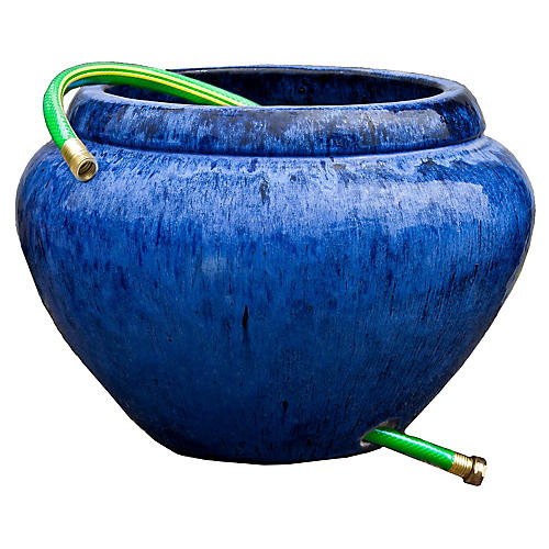 "21"" Hose Outdoor Lipped Planter, Riviera Blue"