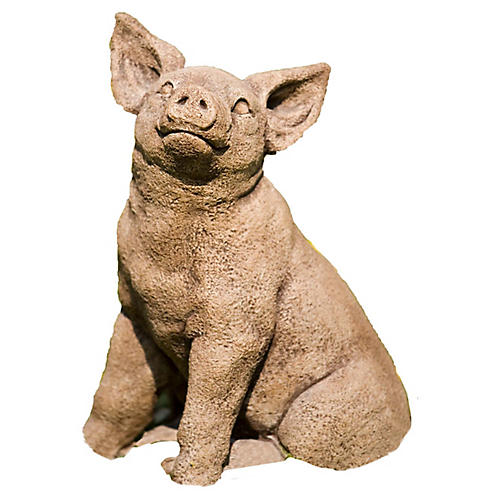 """17"""" Perky Pig Outdoor Statue, Brownstone"""