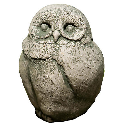 "6"" Baby Barn Owl Outdoor Statue, Alpine Stone"