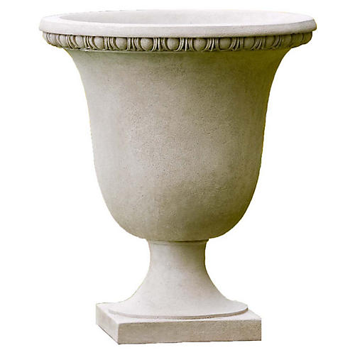 "21"" Williamsburg Egg & Dart Outdoor Planter, Gray"