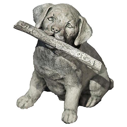 "12"" Proud Pup Outdoor Statue, Alpine Stone"