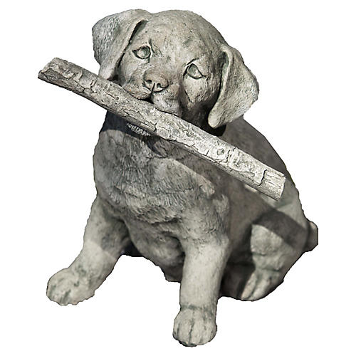 "12"" Proud Pup Outdoor Statue, Alpine Stone"