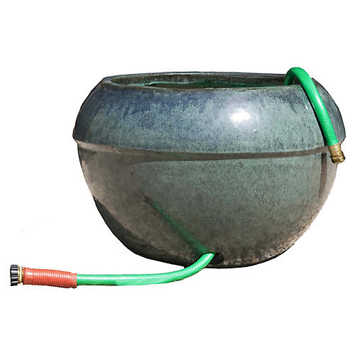 "21"" Hose Outdoor Cuffed Planter, Antiqued Jade"