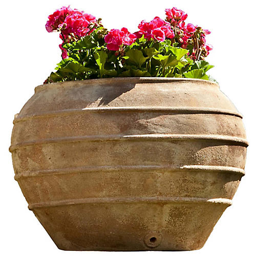 "21"" Thea Outdoor Planter, Antiqued Terracotta"