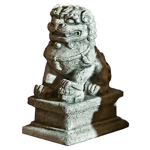 "8"" Temple Foo Dog Outdoor Statue, Alpine Stone"