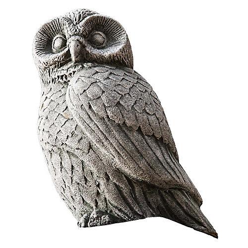 "12"" Night Owl Outdoor Statue, Alpine Stone"
