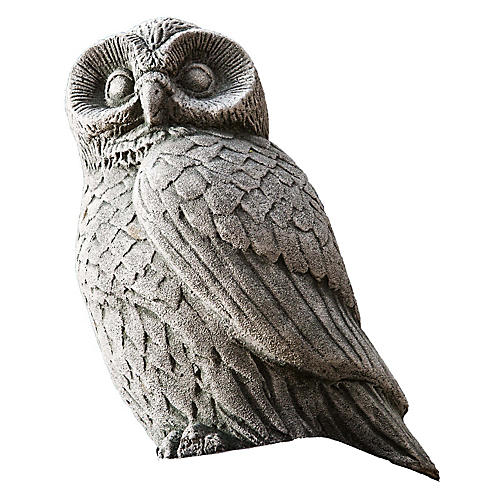 "12"" Night Owl Outdoor Statue, Alpine Stone"