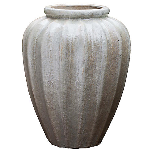 "28"" Edo Outdoor Jar, Antiqued Pearl"
