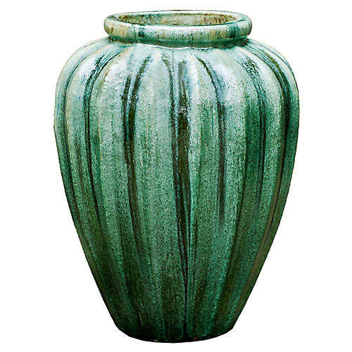 "28"" Edo Outdoor Jar, Celadon Pearl"